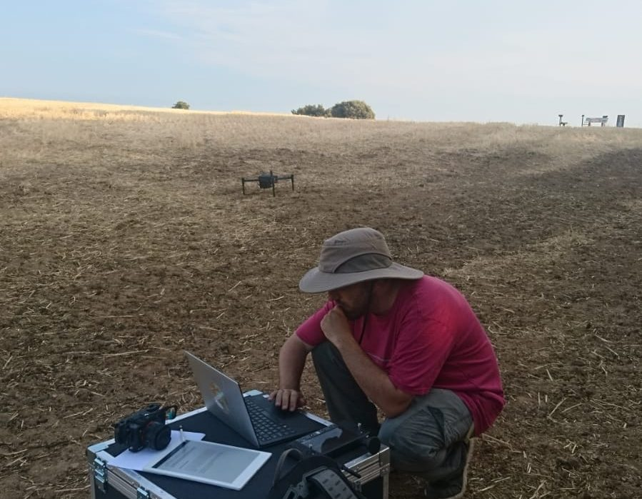 picture of researcher preparing a drone flight